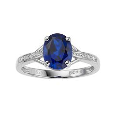 Sterling Silver Oval Cut Lab-Created Sapphire & Diamond Accent Ring