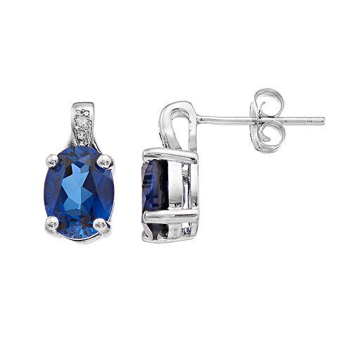 Sterling Silver Lab-Created Sapphire & Diamond Accent Oval Stud Earrings