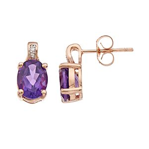 14k Rose Gold Over Silver Amethyst & Diamond Accent Oval Stud Earrings