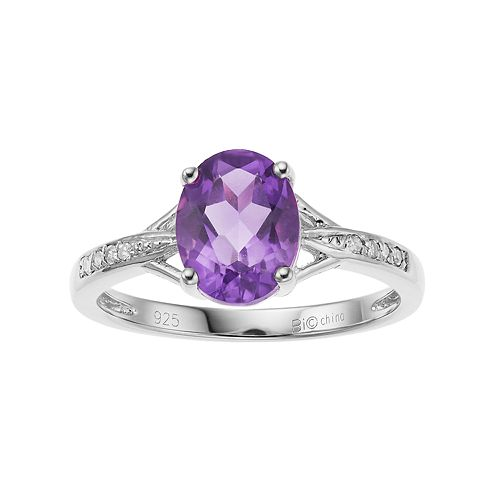 Sterling Silver Oval Cut Lab-Created Alexandrite & Diamond Accent Ring