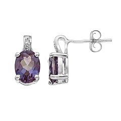 Sterling Silver Lab-Created Alexandrite & Diamond Accent Oval Stud Earrings
