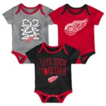 Baby Detroit Red Wings 3-Piece Bodysuit Set