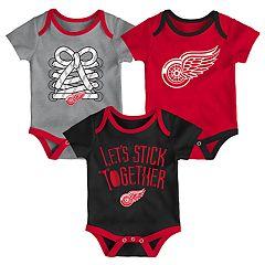 Baby Detroit Red Wings 3-Piece Bodysuit Set