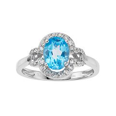 Sterling Silver Blue & White Topaz Oval Halo Ring