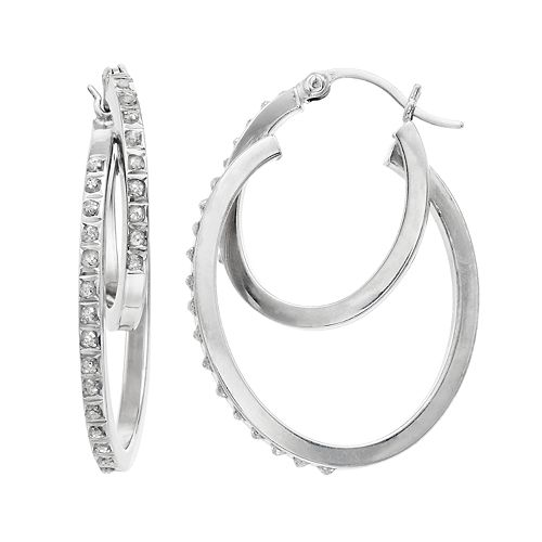 Platinum Over Silver Diamond Mystique Double Hoop Earrings