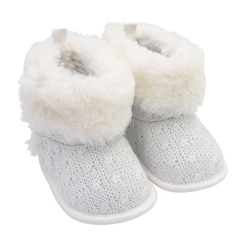Baby Girl Carter's Faux Fur Cable Knit Boot Crib Shoes