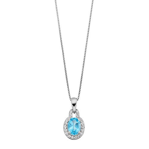Sterling Silver Blue & White Topaz Oval Halo Pendant Necklace