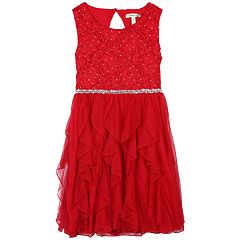 Girls 7-16 Speechless Jeweled Bodice Ruffle Skirt Dress