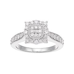 Boston Bay Diamonds 10k White Gold 5/8 Carat T.W. Composite Diamond Engagement Ring