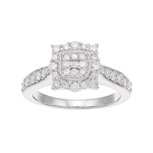Boston Bay Diamonds 10k White Gold 5/8 Carat T.W. Composite Diamond Engagement Ring