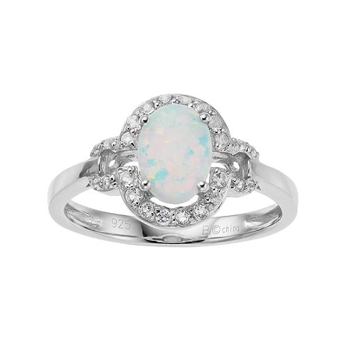 Sterling Silver Lab-Created White Opal & White Topaz Oval Halo Ring