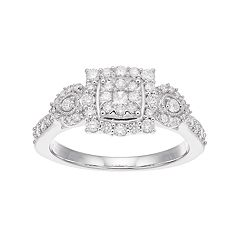 Boston Bay Diamonds 10k White Gold 5/8 Carat T.W. Composite Diamond Cluster Engagement Ring