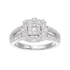 Boston Bay Diamonds 10k White Gold 1/2 Carat T.W. Composite Diamond Square Halo Engagement Ring