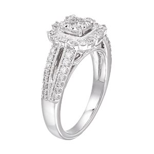 Boston Bay Diamonds 10k White Gold 1/2 Carat T.W. Composite Diamond Square Halo Engagement Ring