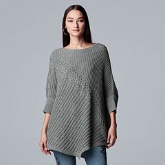 Women's Simply Vera Vera Wang Ribbed Poncho Sweater