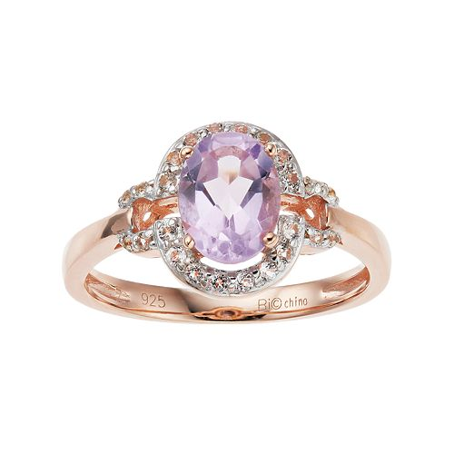 14k Rose Gold Over Silver Amethyst & White Topaz Oval Halo Ring
