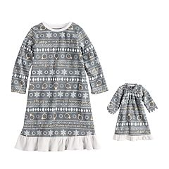 Toddler Girl Jammies For Your Families 12 Days of Christmas Five Golden Rings Fairisle Microfleece Nightgown & Doll Gown Pajama Set