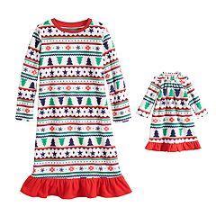 Toddler Girl Jammies For Your Families Fairisle Microfleece Nightgown & Dorm Gown Pajama Set
