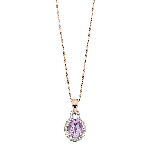 14k Rose Gold Over Silver Amethyst & White Topaz Oval Halo Pendant Necklace