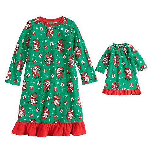 Toddler Girl Jammies For Your Families Santa Microfleece Nightgown & Doll Gown Pajama Set
