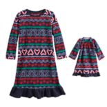 Toddler Girl Jammies For Your Families Gingerbread Man Holiday Fairisle Microfleece Nightgown & Doll Gown Set