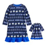 "Toddler Girl Jammies For Your Families Hanukkah ""Oy to the World"" Microfleece Nightgown & Doll Gown Pajama Set"