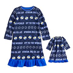 Toddler Girl Jammies For Your Families Hanukkah 'Oy to the World' Microfleece Nightgown & Doll Gown Pajama Set