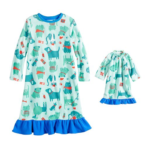 Toddler Girl Jammies For Your Families Santa Paws Microfleece Dog & Cat Pattern Nightgown & Doll Gown Pajama Set