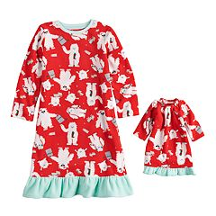 Toddler Girl Jammies For Your Families Microfleece Yeti Pattern Nightgown & Doll Gown Pajama Set