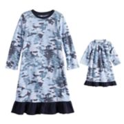 Toddler Girl Jammies For Your Families Holiday Camouflage Microfleece Nightgown & Doll Gown Pajama Set