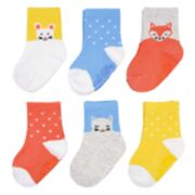 Baby Girl Carter's 6-pack Polka-Dot & Critter Crew Socks