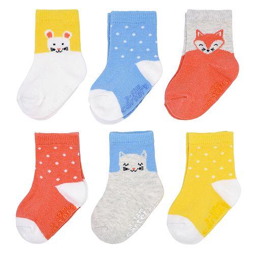 Baby Girl Carter's 6-pack Polka-Dot & Critter Crew Socks