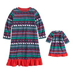 Toddler Girl Jammies For Your Families Happy Holidays Fairisle Family Pajamas Microfleece Nightgown & Doll Gown Set