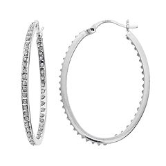 Platinum Over Silver Diamond Mystique Inside Out Hoop Earrings