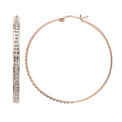 18k Rose Gold Over Silver Diamond Mystique Hoop Earrings