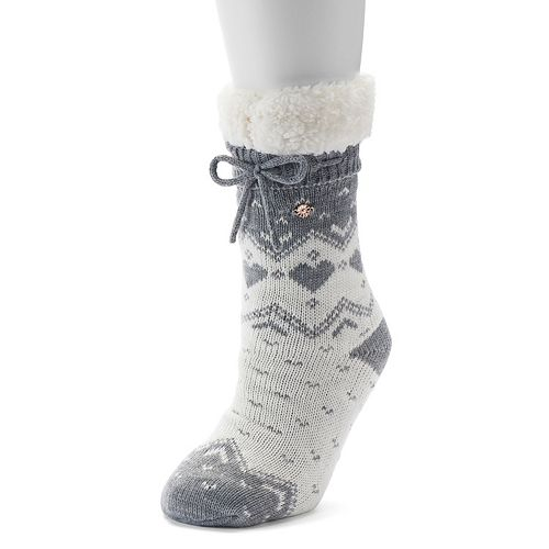 LC Lauren Conrad Sweater Knit Heart Fairisle Slipper Socks