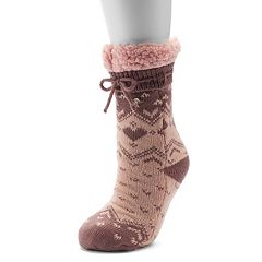 LC Lauren Conrad Sweater Knit Heart Fairisle Slipper Socks