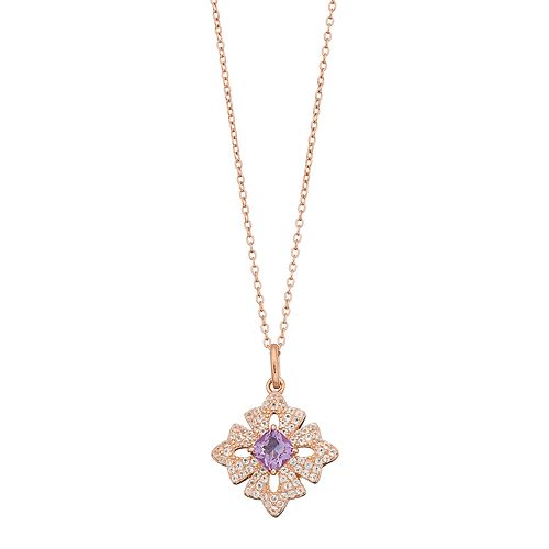 14k Rose Gold Over Silver Amethyst & White Topaz Cross Pendant Necklace