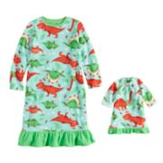 Toddler Girl Jammies For Your Families Dino Microfleece Nightgown & Doll Gown Pajama Set