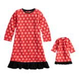 Toddler Girl Jammies For Your Families Snowflakes Microfleece Nightgown & Doll Gown Pajama Set