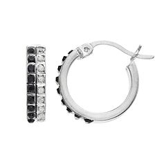 Platinum Over Silver Black & White Diamond Mystique Hoop Earrings