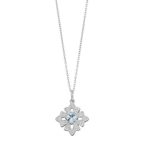 Sterling Silver Lab-Created Aquamarine & White Topaz Cross Pendant Necklace