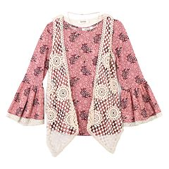 Girls 7-16 Speechless Crochet Vest & Tunic Set with Necklace