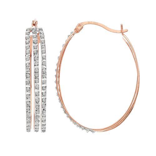 18k Rose Gold Over Silver Diamond Mystique Oval Hoop Earrings