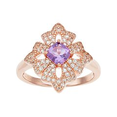 14k Rose Gold Over Silver Amethyst & White Topaz Flower Ring