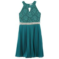 Girls 7-16 Speechless Jeweled Bodice Pleat Skirt Dress