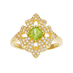 14k Gold Over Silver Peridot & White Topaz Flower Ring