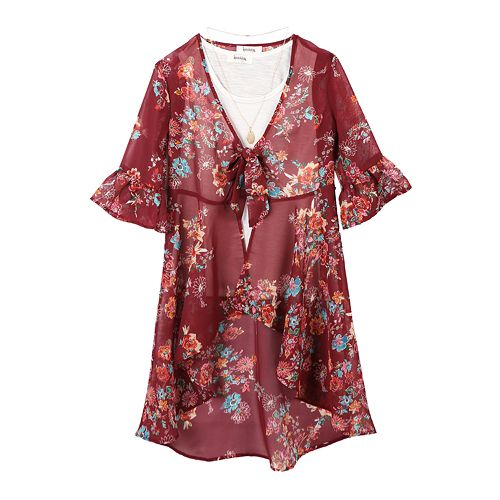 Girls 7-16 Speechless Floral Kimono with Necklace