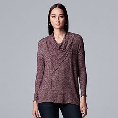 Petite Simply Vera Vera Wang Long Sleeve Cowlneck Top