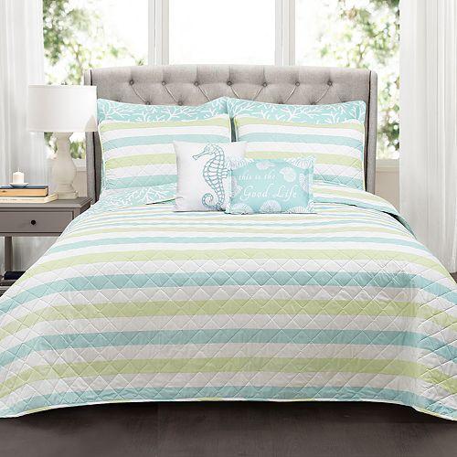 Lush Decor Sealife Stripe 7-piece Quilt Set